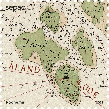 Åland 2021 stamp historical map Rödhamn