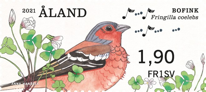 Åland 2021 franking label Common Chaffinch