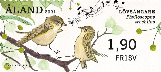 Åland 2021 franking label willow warbler