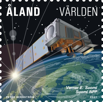 Åland 2021 stamp weather satellite Suomi NPP