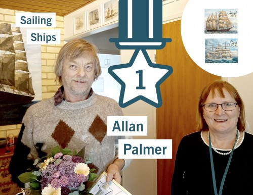 Sailing ship artist Allan Palmer and Eivor Granberg director of Åland Post Stamps