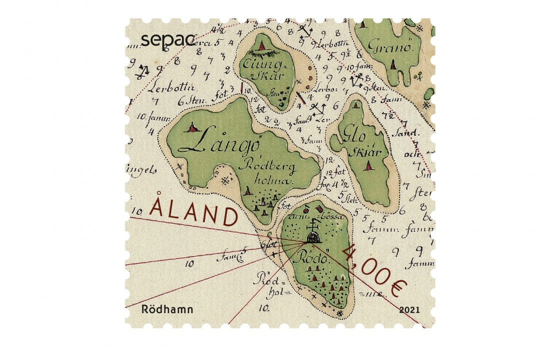 Åland stamp historical map of Rödhamn