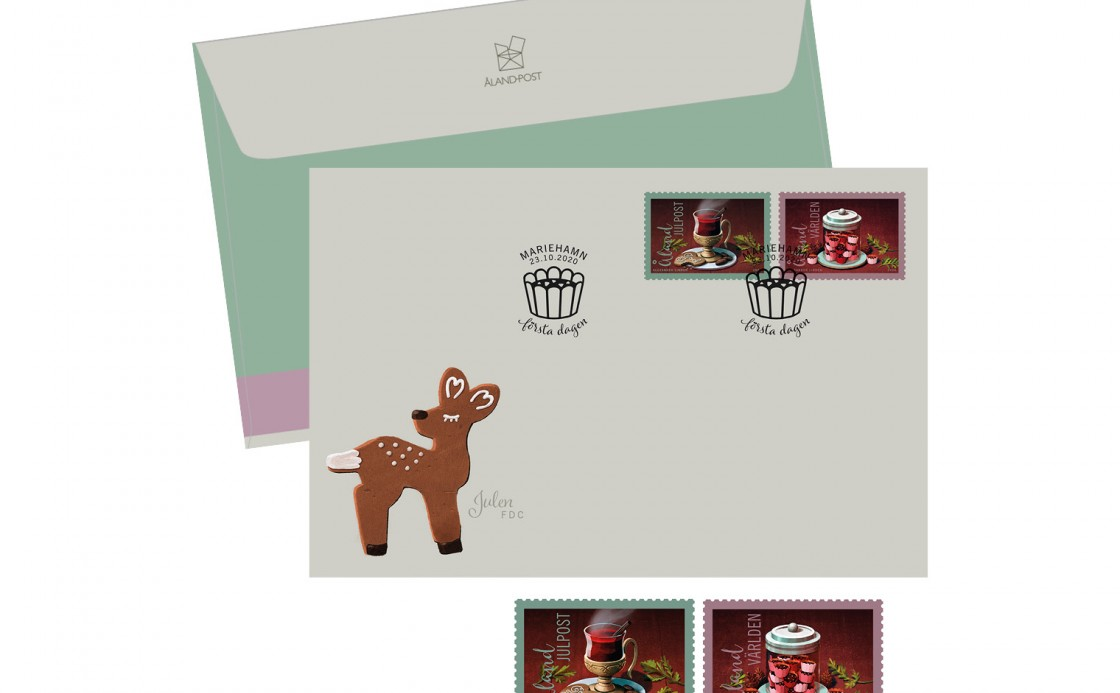 Åland Christmas stamps and FDC with toffee and glogg