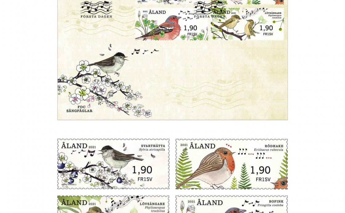 Åland postal labels of songbirds and FDC