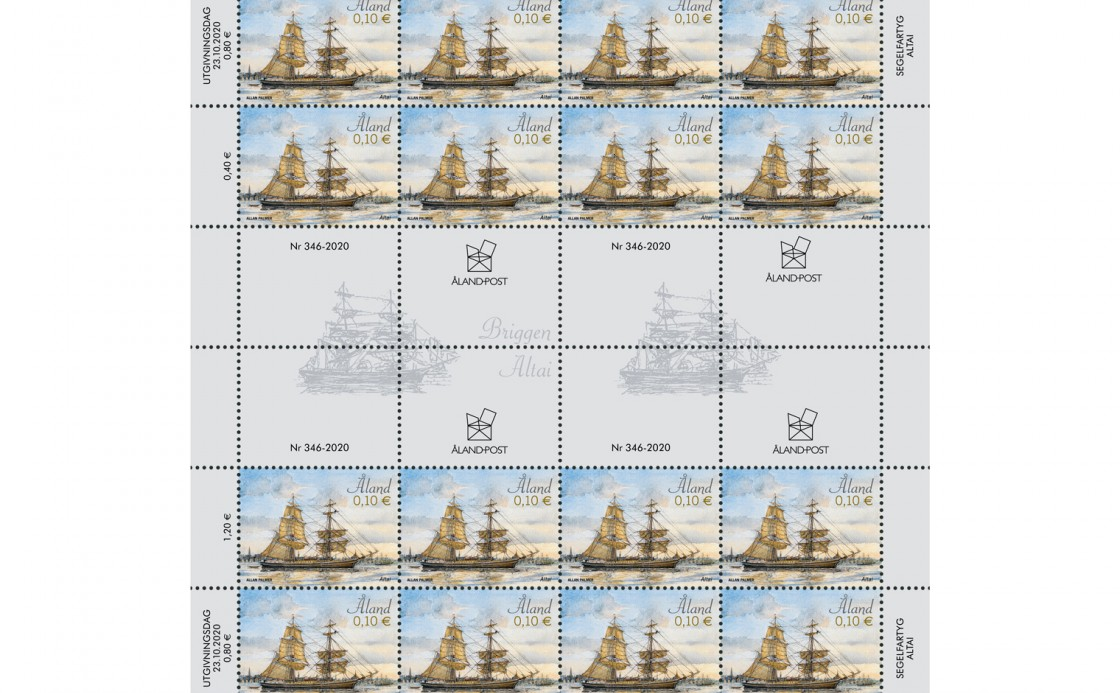 Reprint of Åland stamp sailing ship Altai