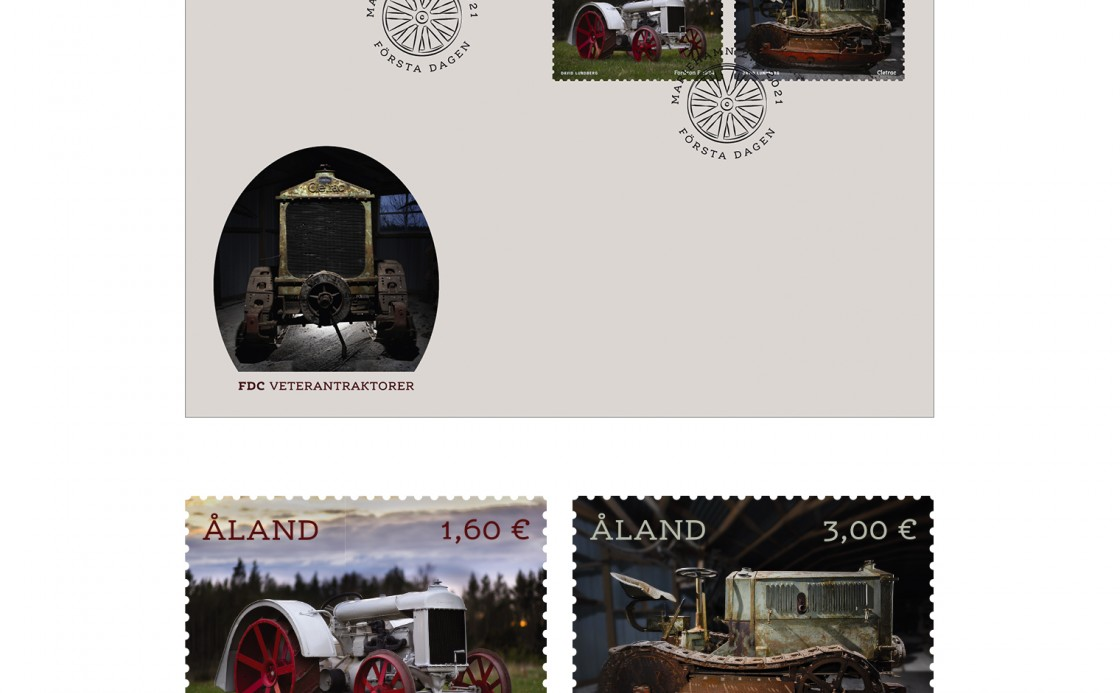 Åland veteran tractors FDC and stamps