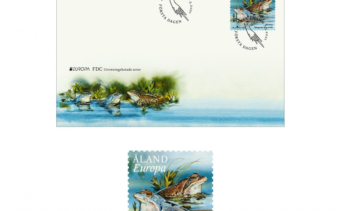 Åland stamp moor frog and first day cover
