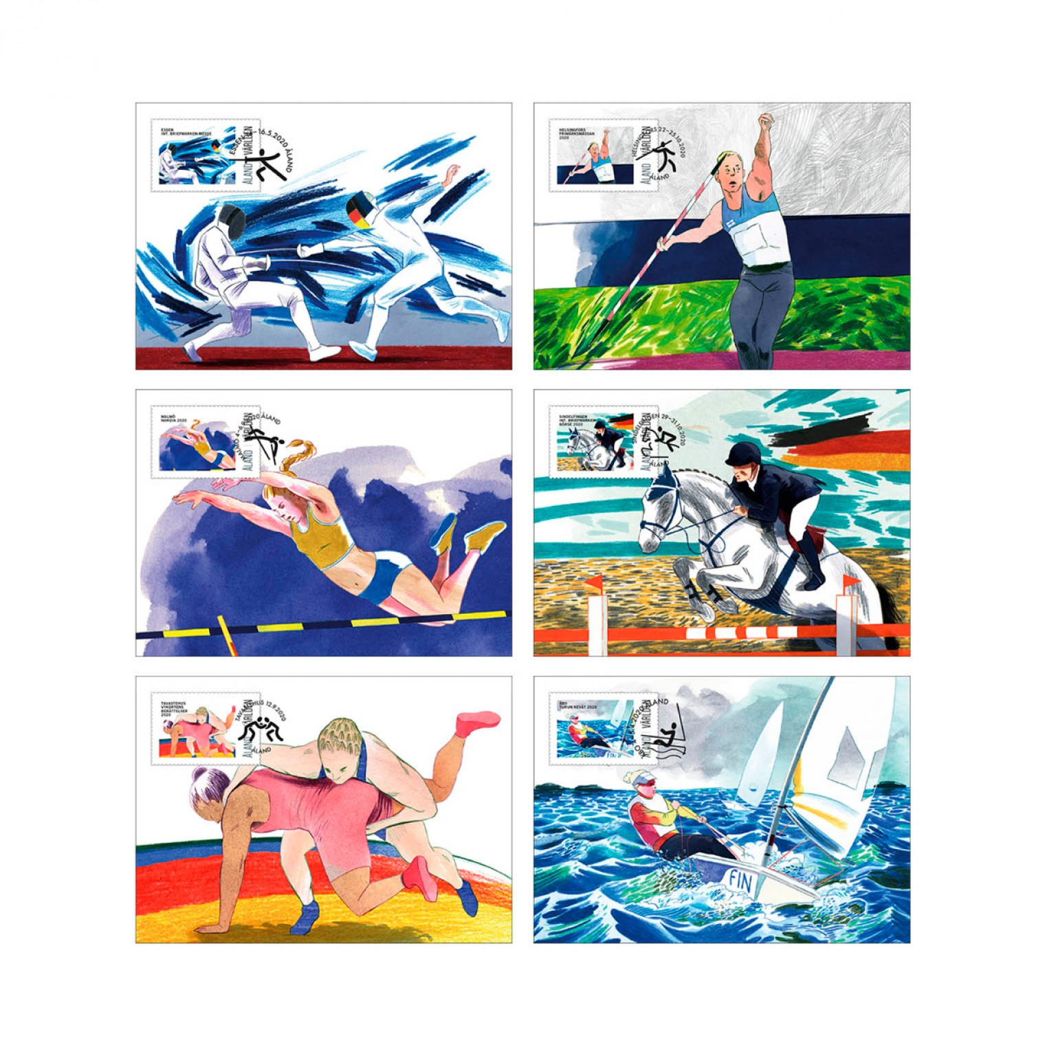 Åland exhibition cards Olympic sports