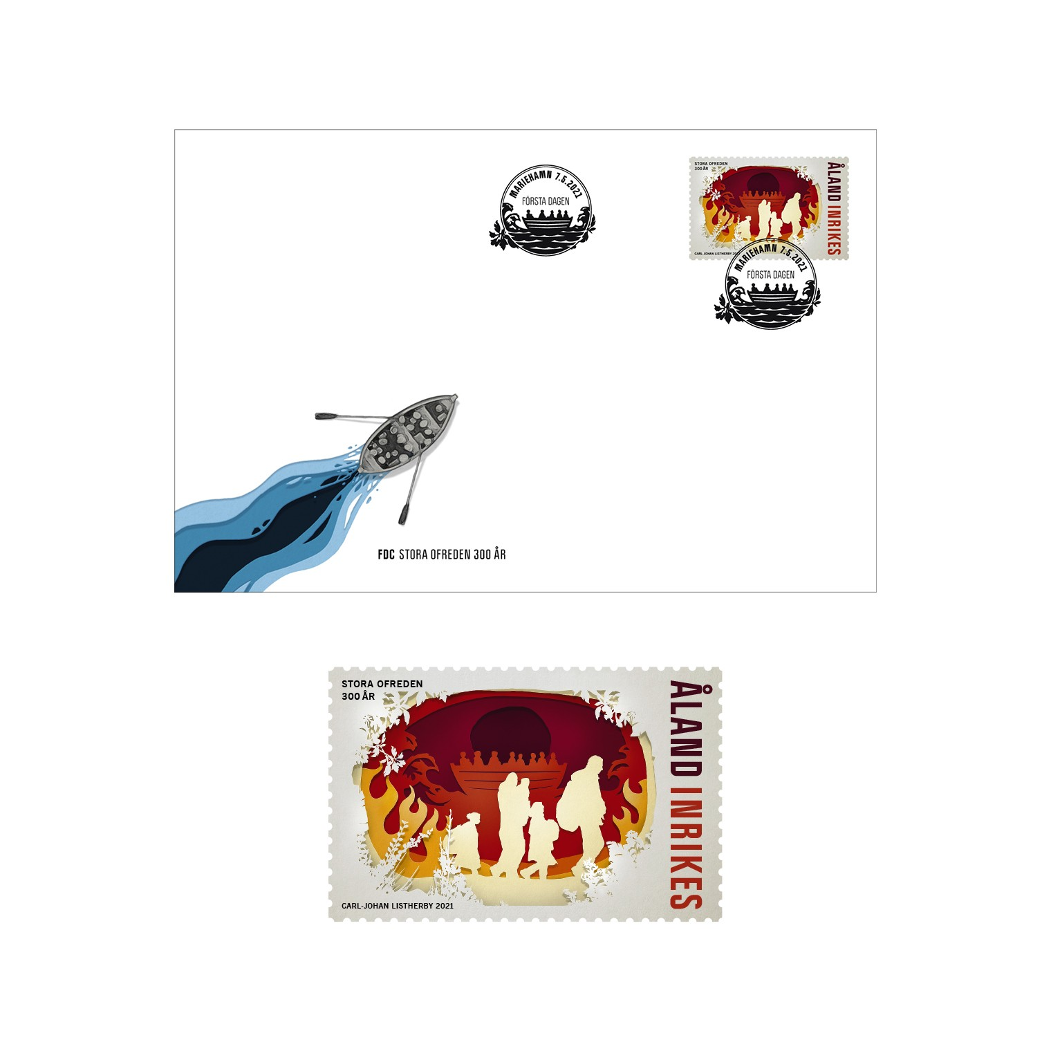 Åland stamp Great Northern War and first day cover